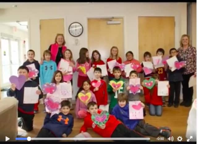 Ann Brown's third-graders in Pleasantville's Bedford Road School made their annual visit to the Clinton Street Center for a Valentine's Day luncheon.