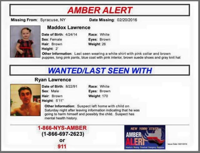 AMBER Alert In Effect For 1-Year-Old Girl Abducted Upstate | Armonk