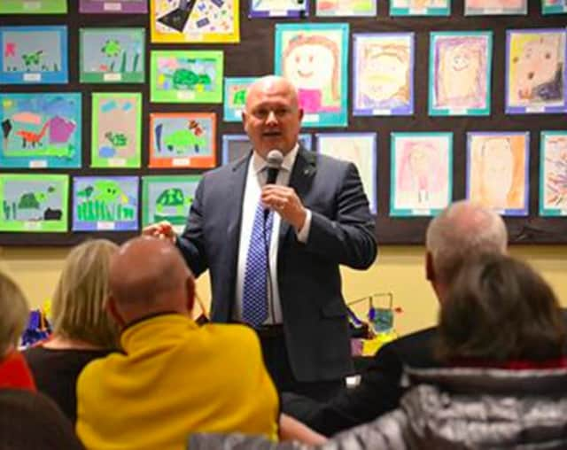 State Representative Mike Bocchino (R-150) recently hosted his first Office Hours session at the Byram-Schubert Library.