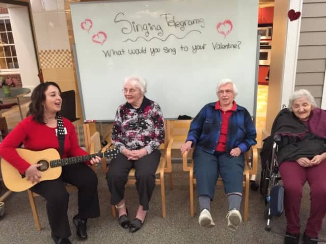"""Waveny LifeCare Network in New Canaan had a special Valentine's themed day called """"Love is a Work of Heart"""" in its Adult Day Program."""