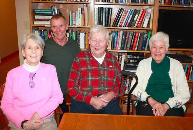 Joni Abberley, left, Ron Barlow, center, and Betty de Araujo meet Tom Renner of Daily Voice.
