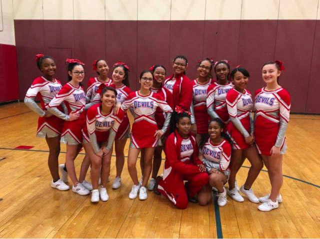 Peekskill High School's Varsity Cheerleaders came in third at Arlington High School's Beach Bash Cheerleading Competition.