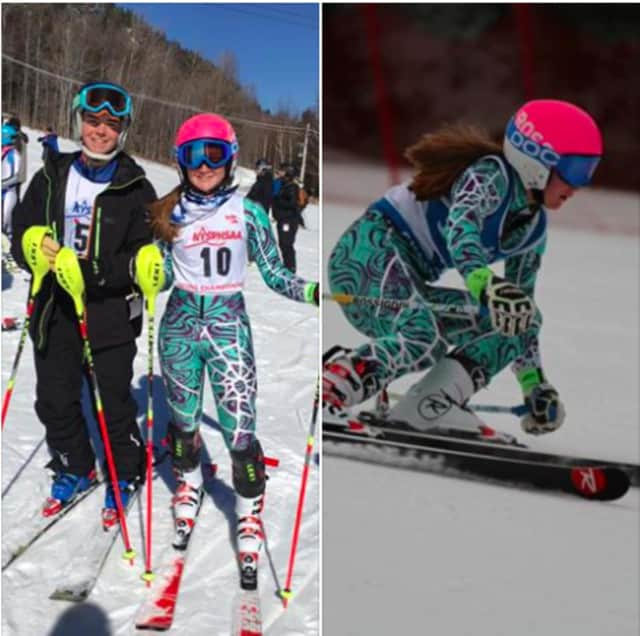 In photo on left, Mamaroneck High School freshman Richard Casey, left, and sophomore Eleanor (Ellie) Lundberg, pose at the New York State Skiing Championships. In photo on right, Lundberg on the slopes.