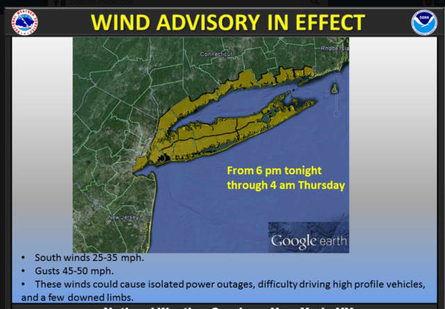 The Wind Advisory is in effect until 4 a.m. Thursday.