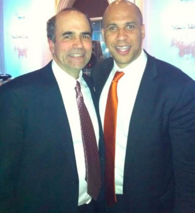 Former Leonia Mayor Robert Pacicco, left, and U.S. Sen. Corey Booker.