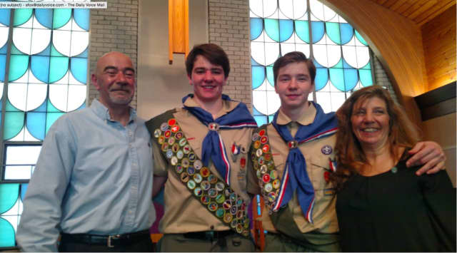 From left, Robert, Alex, Joseph and Doreen Gerstle. Alex and Joseph were awarded the rank of Eagle Scout at a court of honor on Saturday, Feb. 27.