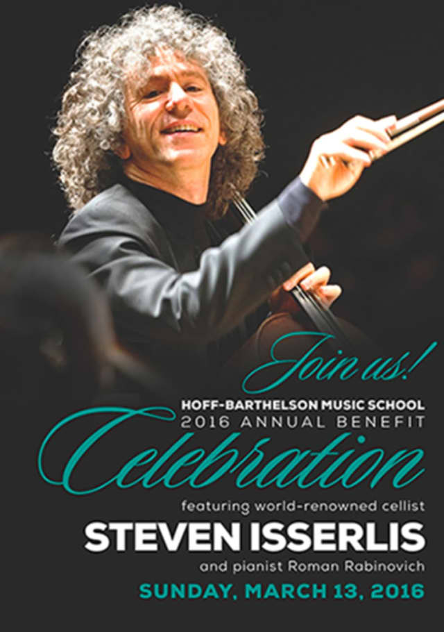 Internationally-acclaimed cellist Steven Isserlis will play at the upcoming annual benefit for the Hoff-Barthelson Music School of Scarsdale at the Emelin Theatre in Mamaroneck on Sunday, March 13.