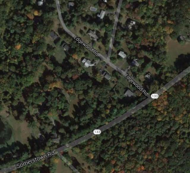 A stretch of Route 133 on the New Castle/Ossining border is closed in both directions Monday after a utility pole went down, blocking the road.