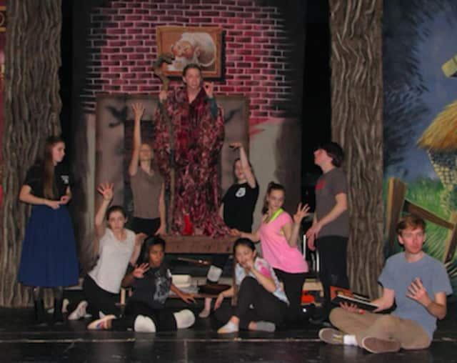 (left to right) Jenny Daly, Alexis Smith, Lauren Smith, Grace Rucci, Audrey Kirkpatrick, Allison Demers, Niki Orndahl, Kaitlyn Piotroski, Jacob Freedgood and Griffin Hall