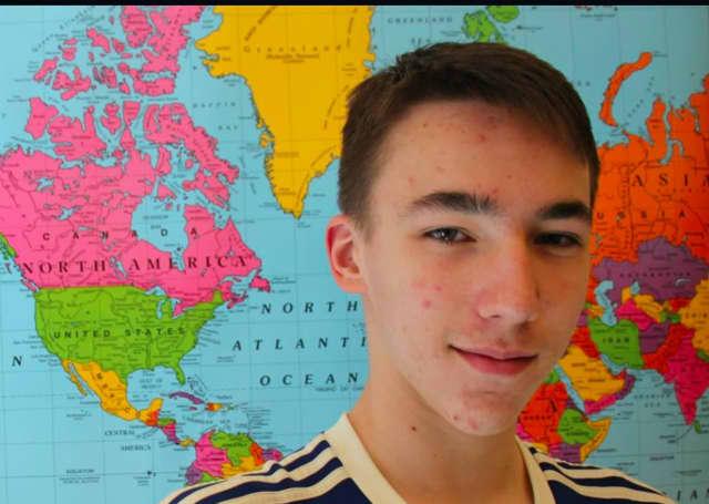 Pelham Middle School eighth-grader Matyas Spunberg