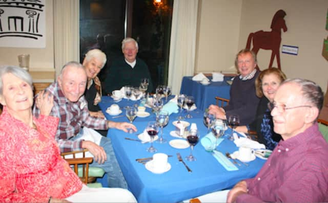 Residents at The Inn, Waveny LifeCare Network's senior living residence, recently shared a Greek meal.