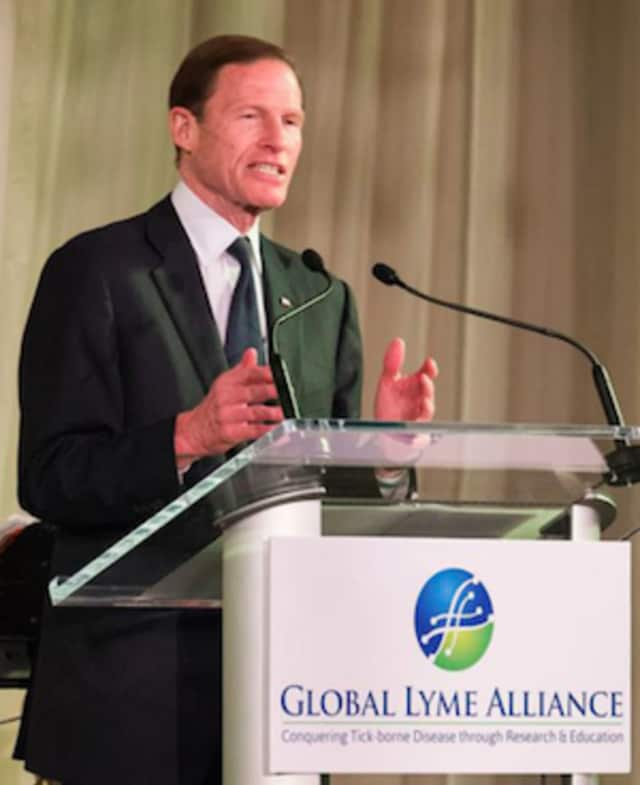 """U.S. Sen. Richard Blumenthal attended a """"Living Heroes Tribute"""" at the senior center in Monroe to honor World War II veterans."""