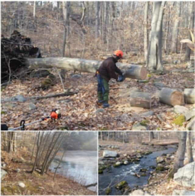 GLT staff, along with volunteer John, worked on trail improvements on our Old Stone Bridge preserve.