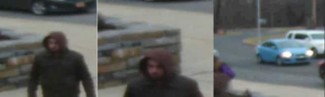 Greenburgh Police are seeking information on a male who disrobed about 5 p.m. at Maria Regina High School after breaking in. Images of the suspect and a blue vehicle outside the school on Hartsdale Avenue just after the incident are above.