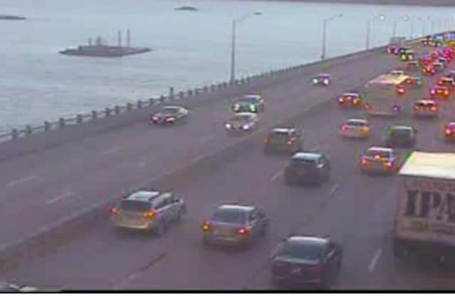 A look at conditions on the Tappan Zee Bridge early Friday evening.
