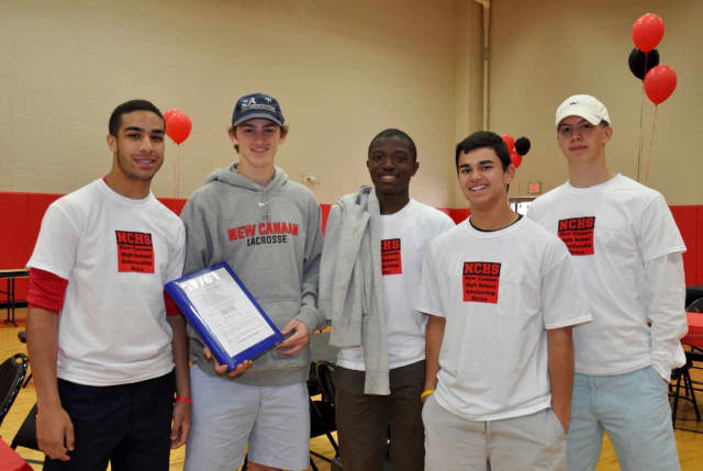 From left: Brian Maccalla, Peter Swindell, Rajon Mitchell, James Freyre, and David Ferm prepare for Scholarship Sunday in New Canaan.