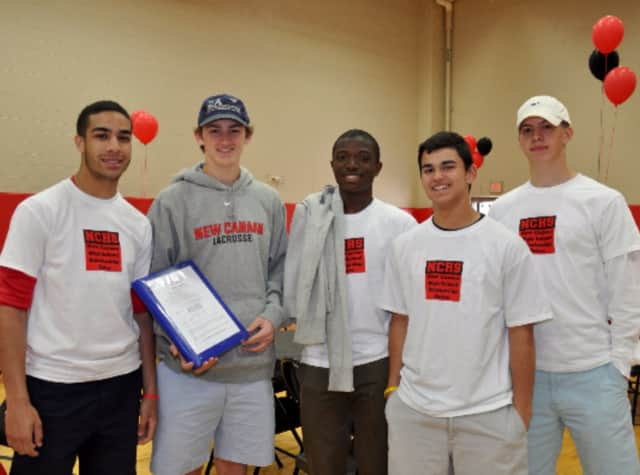 (from left to right) Brian Maccalla, Peter Swindell, Rajon Mitchell, James Freyre, and David Ferm prepare for Scholarship Sunday in New Canaan.
