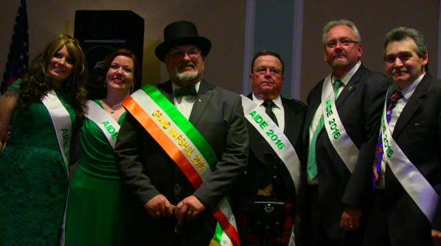 """From left, Aides Lauren Brady and Michelle Carter Verna, Grand Marshal Chef Stanley Rupinski, Aides Don """"Spanky"""" MacLennan, Frank McCann and Dartrey """"Dart"""" Thomas"""