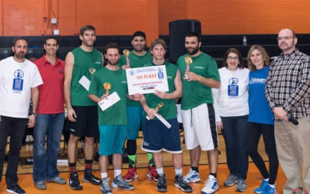 Bergen County Chiropractors raised the trophy at the Fort Lee 3v3 Basketball Tournament.