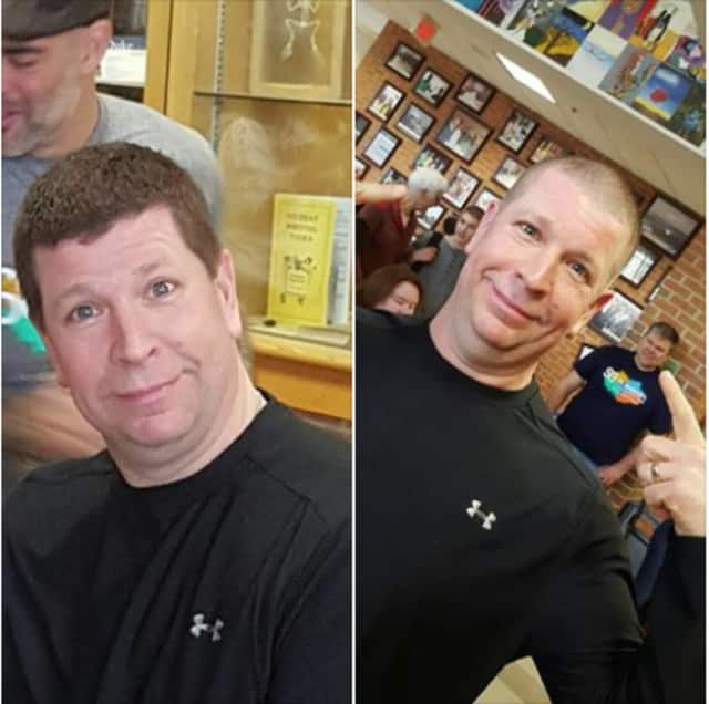 Easton police officer Craig Tibbals shaved his head as part of the fundraising effort.