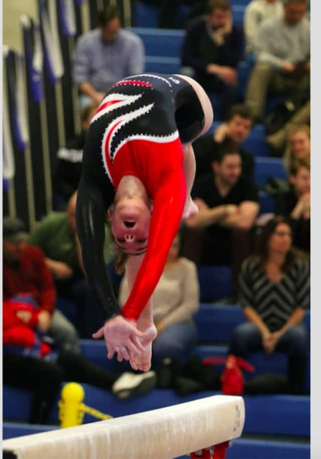 Allie McCarthy at the New York State High School Gymnastics Championships at Shaker High School in Latham on Feb. 27.