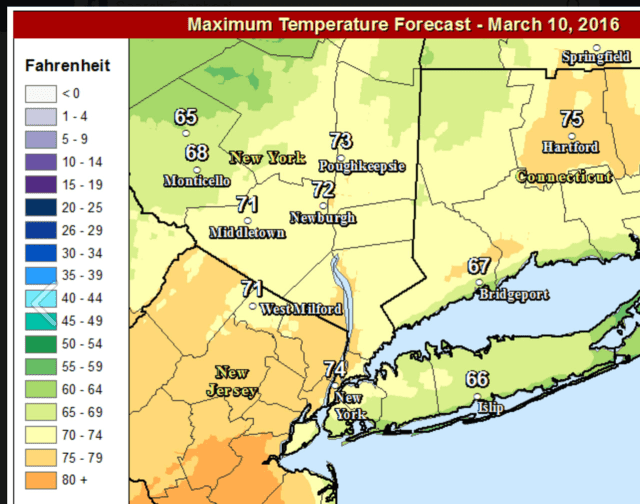 A look at Thursday's projected high temperatures show more warmth farther inland.