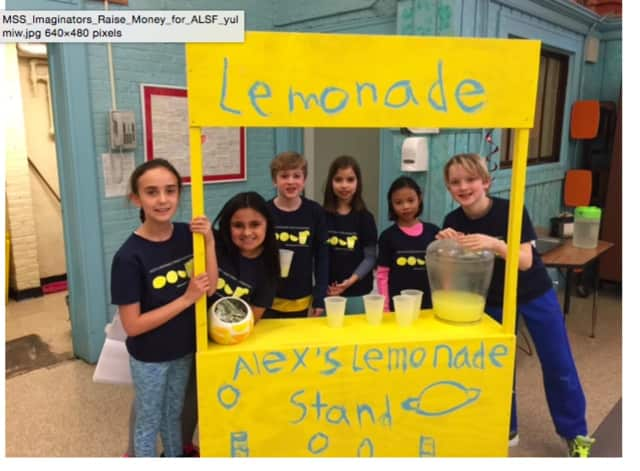 The fourth-graders learned the importance of community service as they made lemonade to fight pediatric cancer.