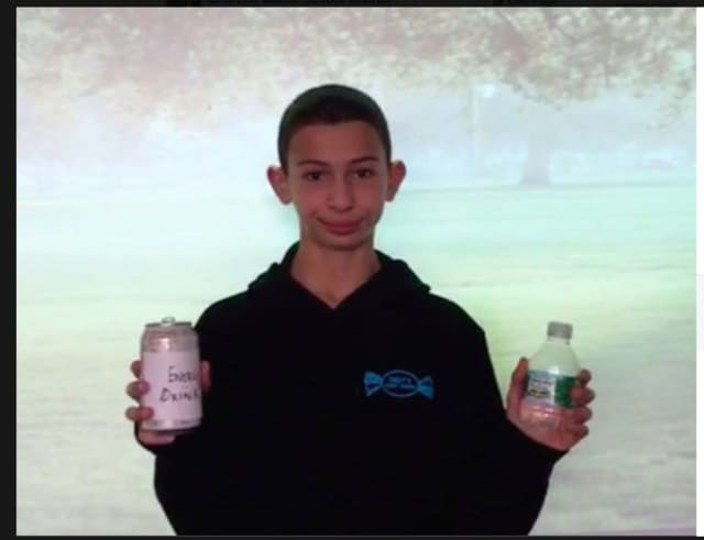 Seventh-grade health students at Briarcliff Middle School produced a video to urge fellow students to choose water over energy drinks.