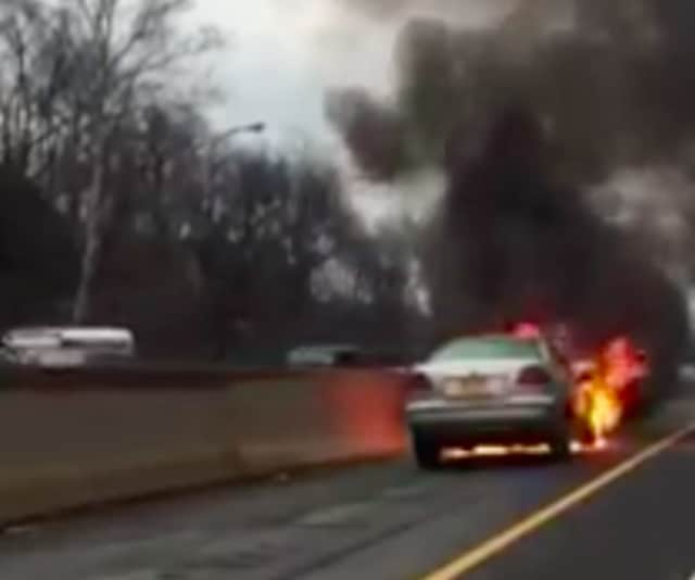 A car fire on I-95 in Greenwich slowed traffic on Friday morning.