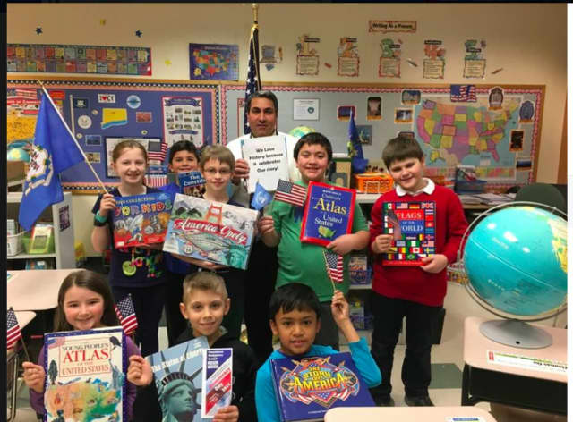"""Joseph Fiore's fourth-grade class at Frenchtown Elementary School in Trumbull loves history because """"it celebrates our story."""" The Trumbull Historical Society participated in the Fairfield County Community Foundation Giving Day."""