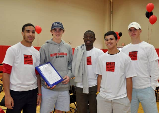 """New Canan High School students Brian Maccalla, Peter Swindell, Rajon Mitchell, James Freyre and David Ferm will be taking part in """"Scholarship Sunday."""""""