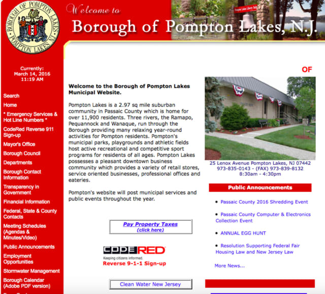 the main page of the Pompton Lakes municipal website