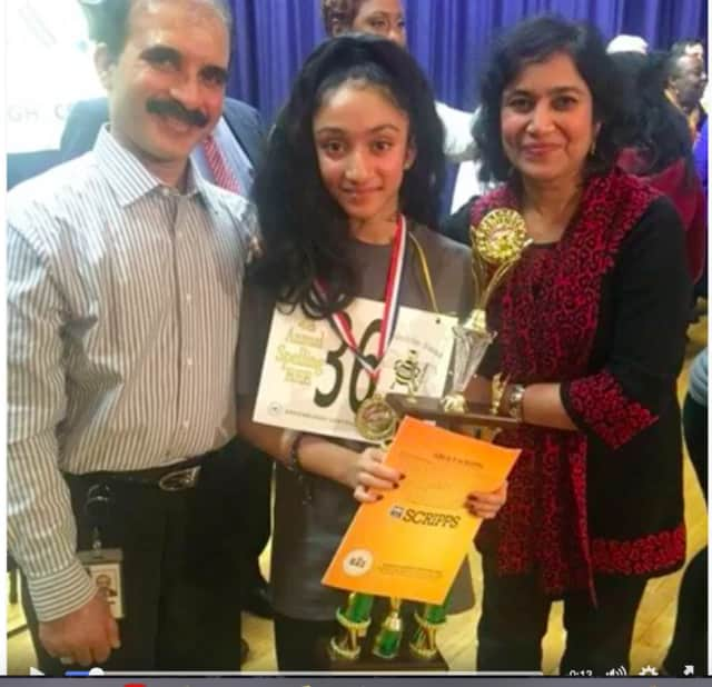 Harshita Shet, a student at Richard J Bailey School in the Greenburgh Central School District, won the school's annual spelling bee on Friday.