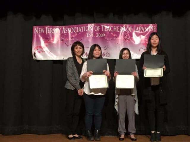 L to R: Ms. Kei Sakayama with students Nathalie Leon, JeeYoon (Jenna) Kim and Na Yeh ( Eileen) Kim.