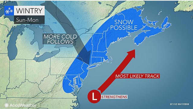 A start-of-spring storm has the potential to bring significant snowfall to the area Sunday into Monday.