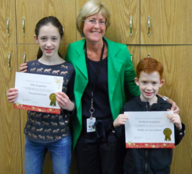 Hudson, right, and Ella with Mrs. Bernadette Ricco a teacher for Norwood Public School's Talented and Gifted program.