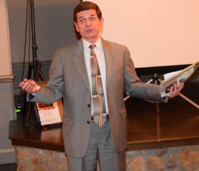 Bruce Moehler, Eversight's Community Relations Liaison, speaks in Saddle River.