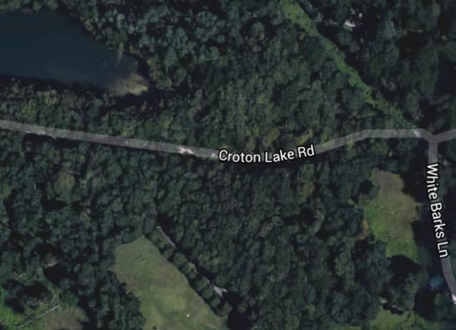 The brush fire is off Croton Lake Road near the intersection of White Barks Lane in Bedford.