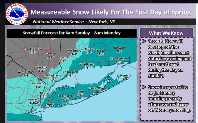 Updated projected snowfall totals for the storm expected Sunday into Monday released Friday afternoon.