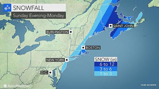 Updated projected snowfall totals for the coastal storm expected Sunday night into Monday morning.