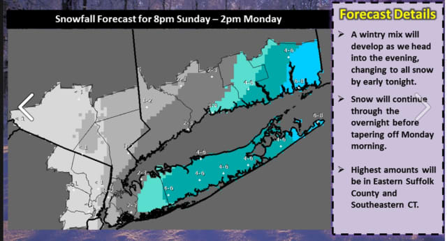 The latest projected snowfall totals from the National Weather Service.