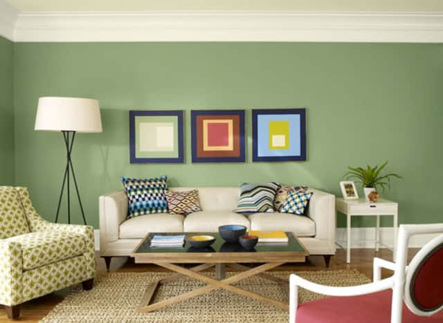 The line of green paints from Benjamin Moore, available at Wallauer's locations throughout Westchester County, add life to any room.
