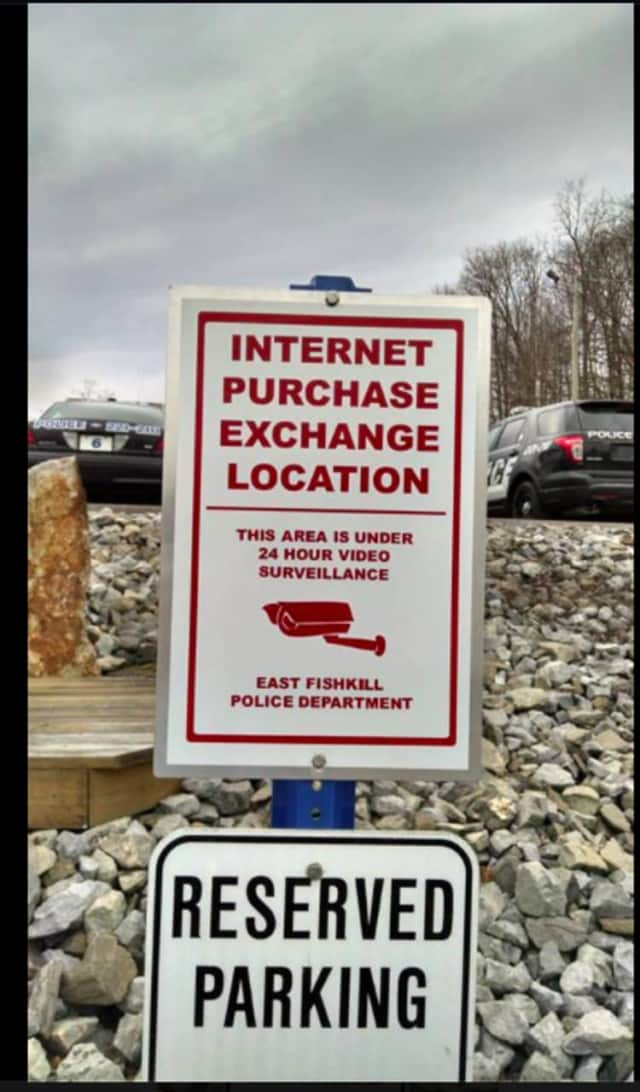 The East Fishkill Police Department has designated a space in its lower level visitor parking lot as a safe location to exchange property with others when conducting online purchases and sales with strangers.