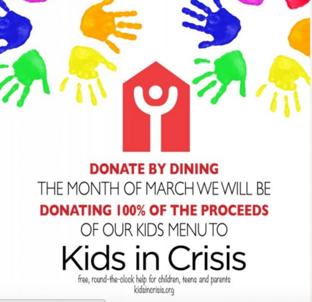 The Waters Edge at Giovanni's, on the Stamford-Darien border, will donate 100 percent of its earnings from its children's menu to Kids In Crisis throughout March.