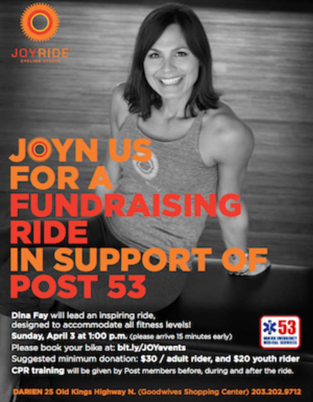 JoyRide in Darien will host a fundraising Ride and CPR sessions April 3 to benefit Post 53..
