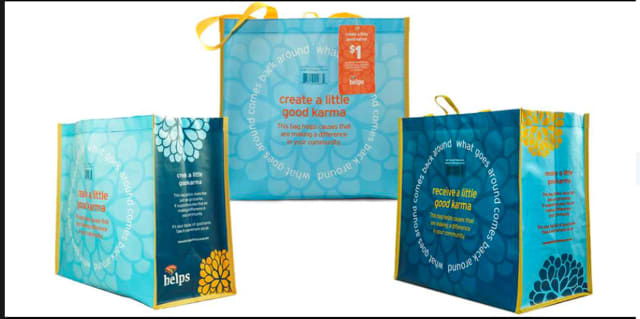 "Grinnell Library in Wappingers Falls has organized a reusable bag fundraiser called the ""Hannaford Helps Reusable Bag"" program."