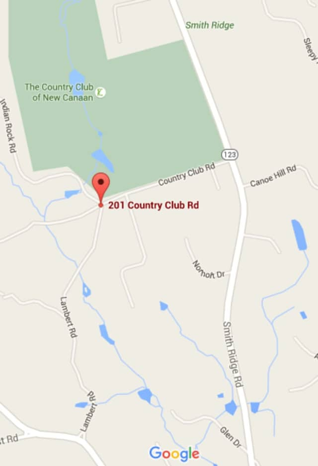 Country Club Road is closed to traffic near the Country Club of New Canaan.