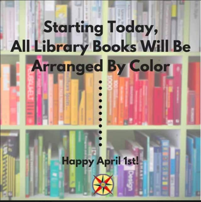 The Glen Rock Library posted an April Fool's joke today that said it color-coded all its books.