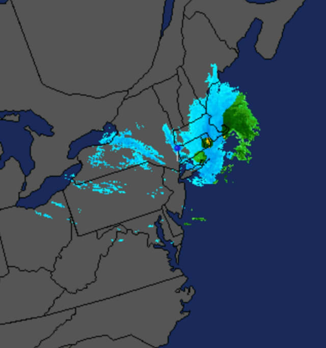 A look at the storm system that brought snow to the area Sunday morning as it tracks east.
