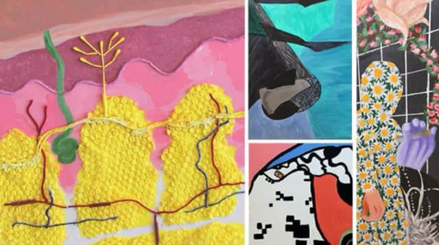 One River School students will display their detailed collages until the end of May.